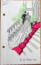 Menu: 1951 French Wedding - Color Cover with Procession