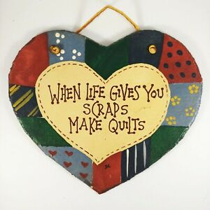 "HANDMADE Quilting Wall Hanging - 8"" Patchwork Heart Country Slate Stone Plaque"