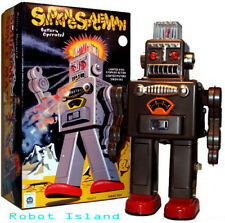 Smoking Spaceman Robot Tin Toy Battery Operated Black Edition - SALE!