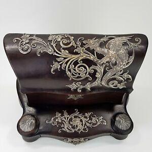 Paul Sormani Paris Napoleon III Ecritoire Bronze Silber Leder Box Schatulle Post