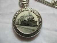 Silver Toned Classy Train Railroad Pocket Watch