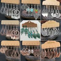 Retro 3 Pairs/Set Boho Gypsy Earrings Tribal Ethnic Hook Drop Dangle Women Gift