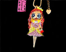 Betsey Johnson Crystal Girl Pink Dress Gold Pendant Chain Necklace Free Gift Bag
