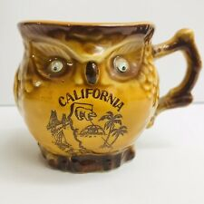 Small Owl Mug With Moving Eyes California Collectible Souvenir Made In Japan