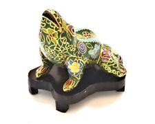 Vintage Cloisonne Frog on Wood Stand. Lovely Floral Pattern. Hand Made.