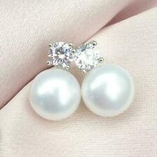 Natural AAA 9-10mm Exquisite South Sea White Pearl Silver Earring At Birthday