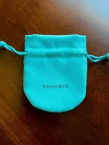 Tiffany & Co Small Blue Jewelry Pouch Drawstring Closure. - New!