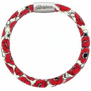NWT Brighton WOODSTOCK Poppyville Flower Single Leather Bracelet  S/M  MSRP $40