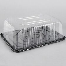 (80-Pack) 1/4 Size 2-3 Layer Sheet Cake Display Container with Clear Dome Lid