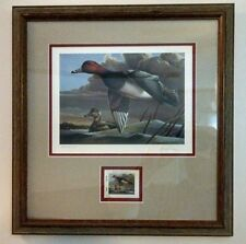"Duck Print and Stamp framed ""Redheads"" by Dietmar Krumrey 2003 edition C.E."