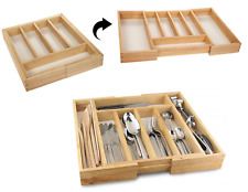 Wooden Expandable Cutlery Drawer Kitchen Storage Organiser 7 Compartment Tray