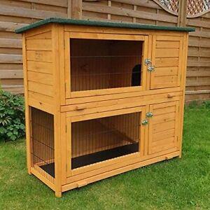 Double Decker Rabbit Hutch Guinea Pig Cage 2 Storey Wooden Pet Ramp Den Outdoor