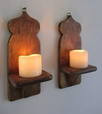 PAIR OF RECLAIMED WOOD MOROCCAN STYLE WALL SCONCE LED CANDLE HOLDERS