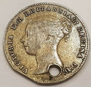 1858 Young Head Victoria Three Pence Silver Coin
