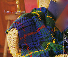SCOTTISH TARTAN THROW RUG 'Farquharson' AFGHAN CROCHET PATTERN in 8ply WOOL
