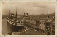 1929 Genova porto, grande nave ormeggio targa Montecassino FP B/N VG