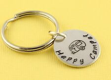 Happy Camper Handstamped Keychain - Keyring Ring - Gift for Camping Lover