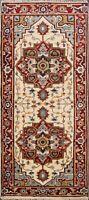 Geometric IVORY/ RUST Heriz Oriental Area Rug Handmade Wool Kitchen Carpet 3'x6'