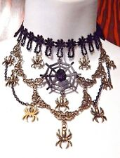 BLACK SPIDER WEB STATEMENT CHOKER lace bib halloween gothic witch vampire new I6