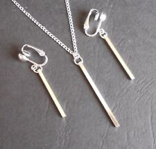 SIMPLY ELEGANT SILVERY BAR NECKLACE & CLIP ON EARRING SET (hook options)