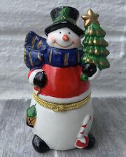 Limoge Christmas Snowman Trinket Box