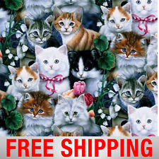 """Valentines Kittens Fleece Fabric - 60"""" Wide - Style# 4003 - Free Shipping"""