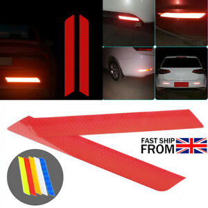 Red Reflector Decal Warning Stickers Car Rim Rear Reflective Strip Tail Safety