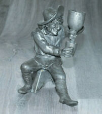 Vintage Character Metal Candlestick Man Pouring a Drink; Very Unusual; Nice!