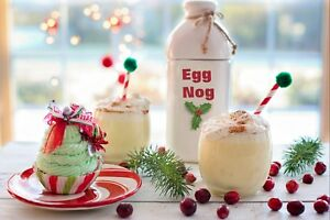 CHRISTMAS FOOD AND DRINK EGG NOG FESTIVE CANVAS PICTURE PRINT UNFRAMED #C39