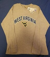 NEW WEST VIRGINIA MOUNTAINEERS GRAY HENLEY MENS SIZE MEDIUM LONG SLEEVE SHIRT M