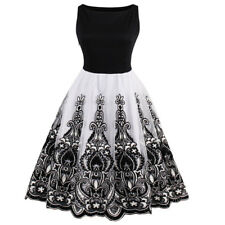 Housewife Ladies Retro Vintage Cotton Rock And Roll Party Swing Dress PLUS SIZE