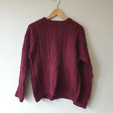 Doogan Donegal Unisex Sz S Burgundy Wool Silk Cable Knit Jumper Sweater Winter