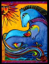 LAUREL BURCH Horses Birds Sun Beams  Ornate -  Friendship Greeting Card - NEW