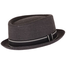 New Unisex Mens Womens Classic Pork Pie Trilby Summer Hat with Stripey Band
