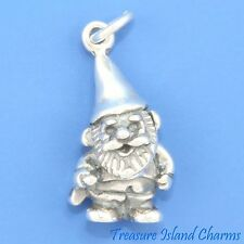 GARDEN GNOME WITH SHOVEL 3D .925 Solid Sterling Silver Charm Pendant LAWN YARD