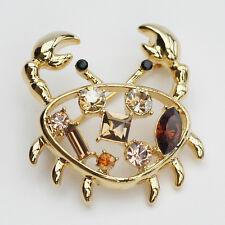 14k Gold plated crystals crab Swarovski elements brooch pin