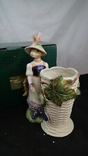 Fitz And Floyd Old World Rabbits Utensil Holder Easter Mint in Box 73/320