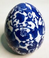 Vintage Blue & White Floral Decorative Ceramic Chinese Egg