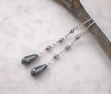 Lange Hämatit Ohrringe 925 Silber, Vintage Ohrhänger grau Sterlingsilber d553