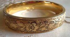 Victorian  Ornate AC 12 K Gold filled  etched Flower Bangle bracelet beautiful