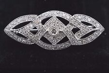 Look Vintage 18ct Oro Blanco COMPLETO Corte Diamante Redondo Broche