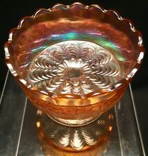 Antique Clear to Marigold Carnival Glass Peacock Tail Footed Scalloped Compote