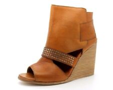 O.X.S Womens UK 6 EU 39 Brown Leather Peep Toe Wedge Heel Italian Ankle Boots