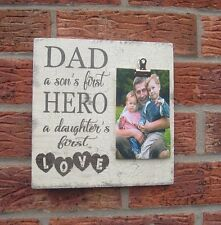 shabby vintage chic dad son's first hero daughter first love photo plaque father