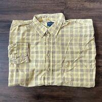 Duck Head Long Sleeve Button Down Shirt Men's 2XL Tall Yellow Plaid