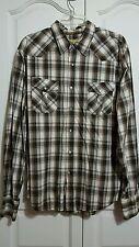 GUESS Men's Long Sleeve Pearl Snap Size XL Brown Shirt