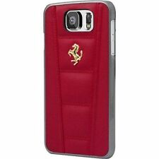 Ferrari 458 Red Gold Emblem Real Leather Slim Thin Hard Case Samsung Galaxy S6