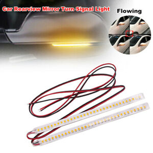 2PCS Car Rearview Mirror 32 LED Strip Light Flowing Turn Signal Side Lamp Amber