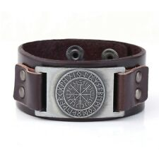 Leather Viking Vegvisir Compass Rune Cuff Bracelet Icelandic Magical Stave