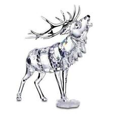 Swarovski Faceted Crystal Reindeer Stag with Silver Tone Rack and Stand